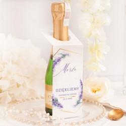 Dekoracja na butelkę mini szampana. Personalizowana zawieszka z grafiką lawendy.