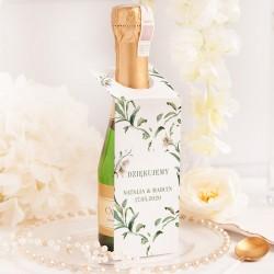 Zawieszka na mini szampana. Personalizowany dodatek dla gości weselnych.