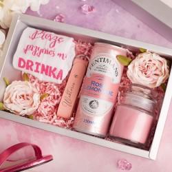 Zestaw upominków dla niej, w pudełku. Piękna kolorystyka w różowym odcieniu.