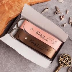 BRELOKI skórzane do kluczy dla pary prezent na Ślub i Rocznicę