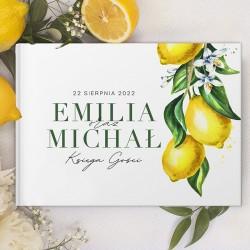 KSIĘGA GOŚCI weselnych Słoneczna Cytryna BIAŁE KARTKI
