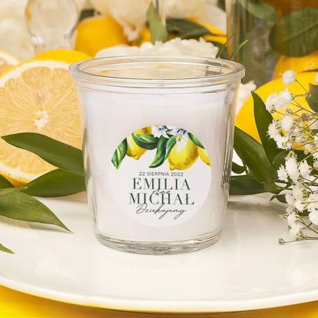 ŚWIECZKA zapachowa Podziękowanie dla Gości Słoneczna Cytryna (+etykieta)