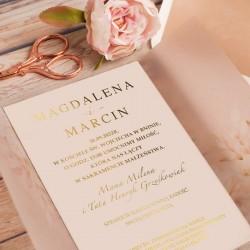 ZAPROSZENIE ślubne personalizowane Pudrowe Kwiaty ZŁOCONE