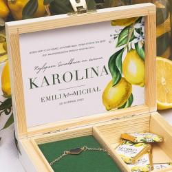 PREZENT dla świadkowej w drewnianym pudełku Słoneczna Cytryna