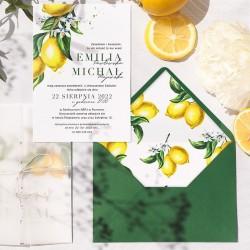 Zaproszenie ślubne z cytrynową grafiką. Personalizowany dodatek pozwoli zaprosić gości w elegancki sposób.