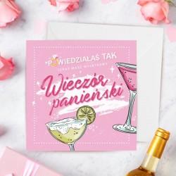 Okolicznościowa kartka na panieński dla Panny Młodej. Kartka w różowym odcieniu, z grafiką przedstawiającą kolorowe drinki.