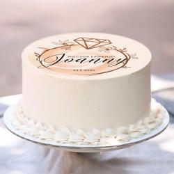 Opłatek personalizowany na wieczór panieński. Dekoracja tortu z nowoczesnym wzorem graficznym.