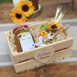 MIÓD dla Rodziców w drewnianej skrzyni Słoneczniki MEGA ZESTAW