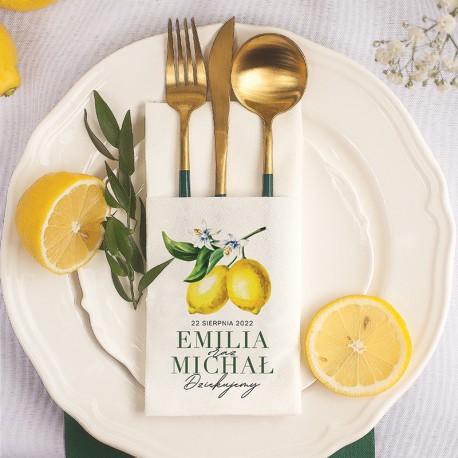 Personalizowana kieszonka na sztućce z personalizacją i motywem cytryny. Idealna dekoracja na weselny stół.