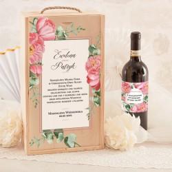 SKRZYNIA na 2 wina prezent dla Pary Młodej Dzikie Róże RÓŻOWE (+etykiety)