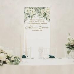 Personalizowane tło do zdjęć ze ślubu. Kakemono z grafiką z kolekcji Białe Kwiaty.