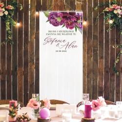 Dekoracja sali weselnej w postaci kakemono. Idealny dodatek jako tło do pamiątkowych zdjęć z wesela.
