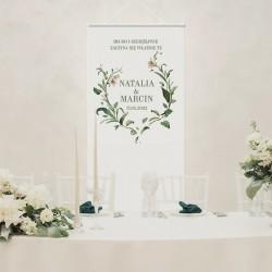 Kakemono personalizowane na ślub. Idealnie sprawdzi się jako dekoracja sali weselnej.