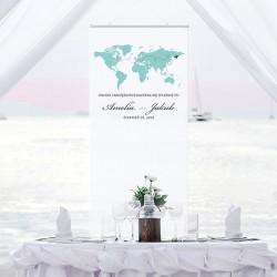 Dekoracja na wesele w postaci kakemono. Idealne tło do pamiątkowych zdjęć.