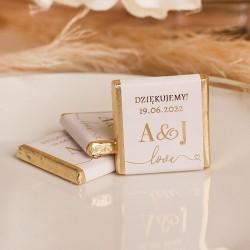 CZEKOLADKA ślubna personalizowana Only Love ZŁOCONA