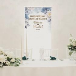 KAKEMONO personalizowane na wesele z imiona nowożeńców i datą ślubu