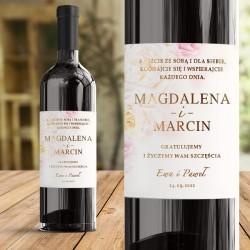Personalizowana etykieta na wino. Prezent dla Pary Młodej.