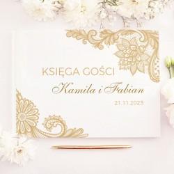 KSIĘGA GOŚCI weselnych Złota Koronka BIAŁE/CZARNE KARTKI
