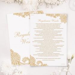 Regulamin wesela w białym kolorze. Posiada piękny wzór graficzny.