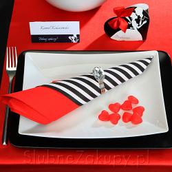 SERWETKI czarno-białe paski Zakochani 33x33 20szt