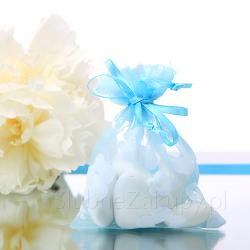 WORECZKI z organzy Kwiaty Lata Tiffany Blue 20szt