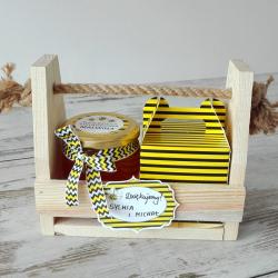 PODZIĘKOWANIE w drewnianym nosidle Miód+Herbata Urocza Pszczółka