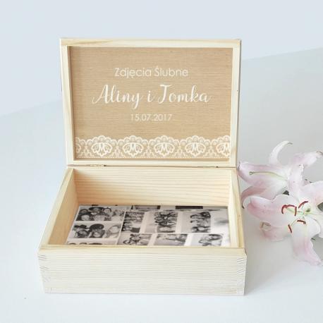 KUFEREK drewniany na zdjęcia ślubne Z IMIONAMI