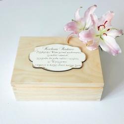 KUFEREK drewniany podziękowanie dla Rodziców Z TABLICZKĄ