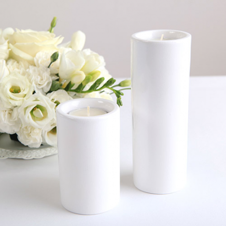 ŚWIECZNIK/WAZONIK ceramiczny Rurka 14cm +tealight