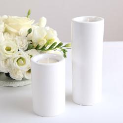 ŚWIECZNIK/WAZONIK ceramiczny Rurka DUŻY 17cm +tealight