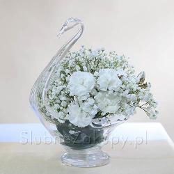 ŁABĘDŹ szklany dekoracyjny 28cm