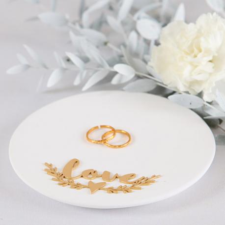 TALERZYK ceramiczny na obrączki LOVE