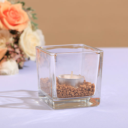 ŚWIECZNIK szklany kostka 8cm