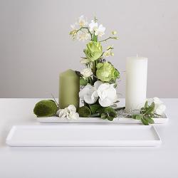 PODSTAWKA biała na świece i kwiaty DŁUGA 11x43cm