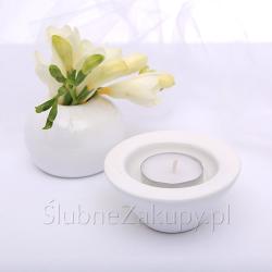 ŚWIECZNIK ceramiczny okrągły +tealight KONIEC SERII