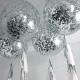 BALON GIGANT + srebrno-złote-czarne konfetti kółka 1m