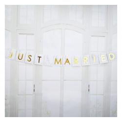 BANER z flagami na samochód Just Married ZŁOTY