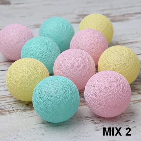Lampki Dekoracyjne Cotton Ball Lights 10 Kul Mix Kolorów Slubnezakupypl