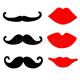 NAKLEJKI wąsy i usta 6szt