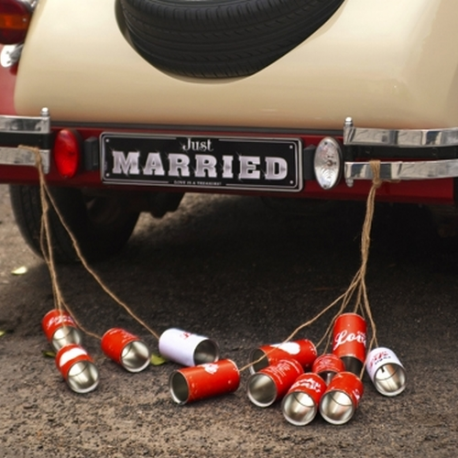 PUSZKI do auta ślubnego Retro Design 5szt