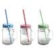 KUBEK szklany z kolorową zakrętką i słomką 400ml