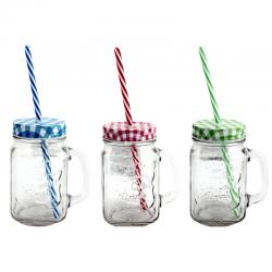 KUBEK szklany z kolorową zakrętką i słomką 400ml OSTATNIE SZTUKI