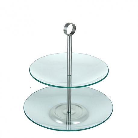 PATERA szklana 2-poziomowa OKRĄGŁA 25cm KONIEC SERII