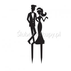 KONTUR dekoracyjny na ślubny tort Elegancka Para