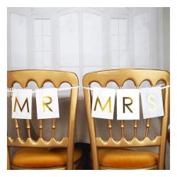 BANER dekoracyjny na krzesło Mr & Mrs ZŁOTY