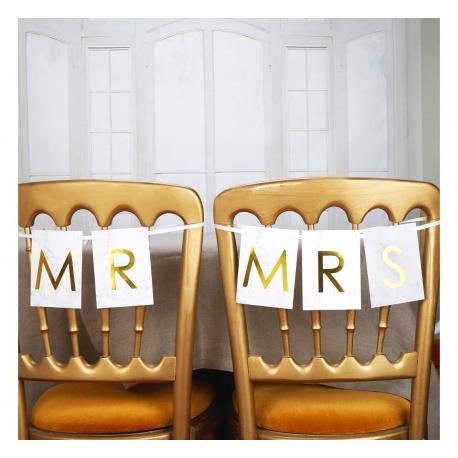 Baner dekoracyjny na krzesło ZŁOTY - Mr & Mrs
