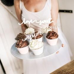 TOPPERY dekoracyjne Love, Sweet, Yum 13cm 6szt