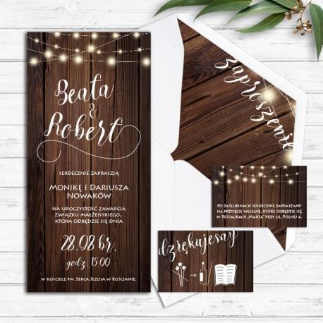 ZAPROSZENIE ślubne personalizowane Drewniane