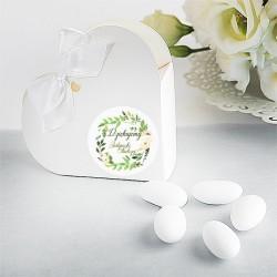 PUDEŁECZKA serca personalizowane 10szt Zielony Wianek (+białe wstążki)
