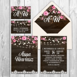 ZAPROSZENIE ślubne personalizowane Drewniane z Girlandą